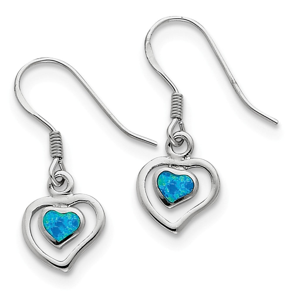 10mm Created Blue Opal Double Heart Dangle Earrings in Sterling Silver, Item E10611 by The Black Bow Jewelry Co.