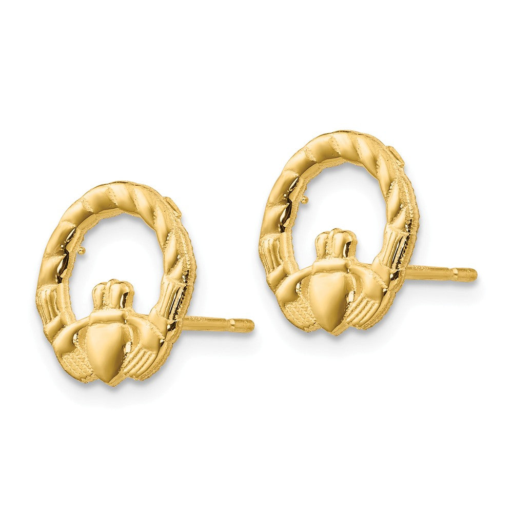 Alternate view of the 12mm Textured Claddagh Post Earrings in 14k Yellow Gold by The Black Bow Jewelry Co.