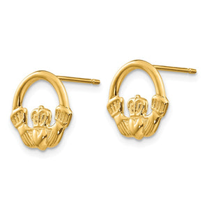 Alternate view of the 12mm Claddagh Post Earrings in 14k Yellow Gold by The Black Bow Jewelry Co.