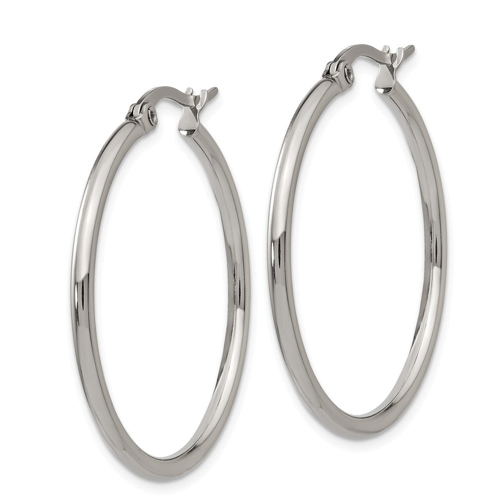 Alternate view of the 2mm Stainless Steel Classic Round Hoop Earrings - 32.5mm (1 1/4 Inch) by The Black Bow Jewelry Co.