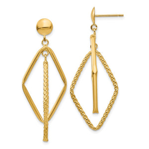 Double Rhombus Dangle Post Earrings in 14k Yellow Gold - The Black Bow Jewelry Co.