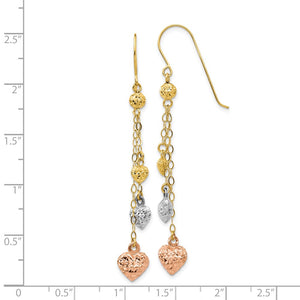 14k Tri Color Gold, Triple Puffed Heart and Chain Dangle Earrings