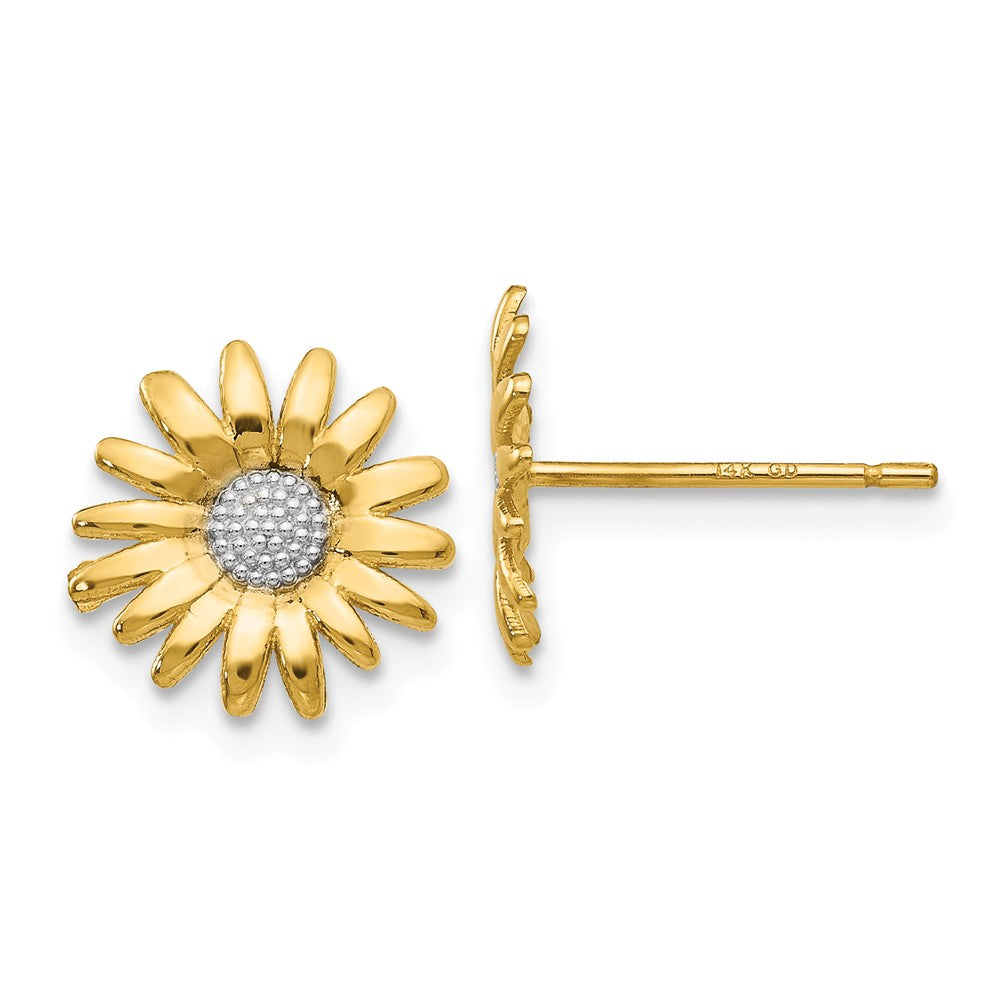 10mm Two Tone Sunflower Post Earrings in 14k Yellow Gold, Item E10771 by The Black Bow Jewelry Co.