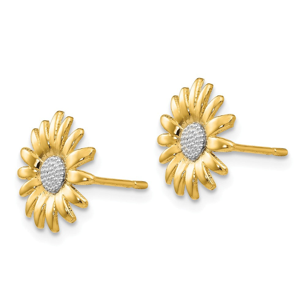 Alternate view of the 10mm Two Tone Sunflower Post Earrings in 14k Yellow Gold by The Black Bow Jewelry Co.