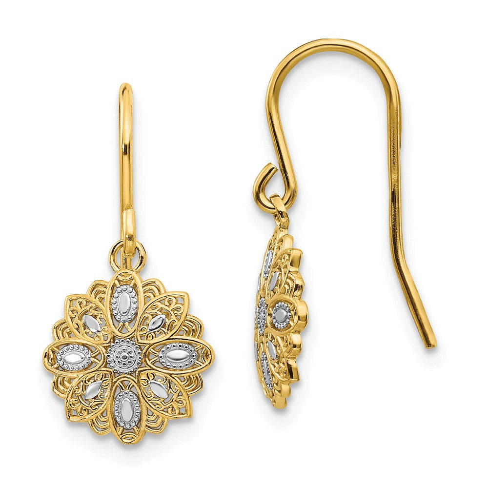 10mm Floral Dangle Earrings in 14k Yellow Gold and White Rhodium, Item E10776 by The Black Bow Jewelry Co.
