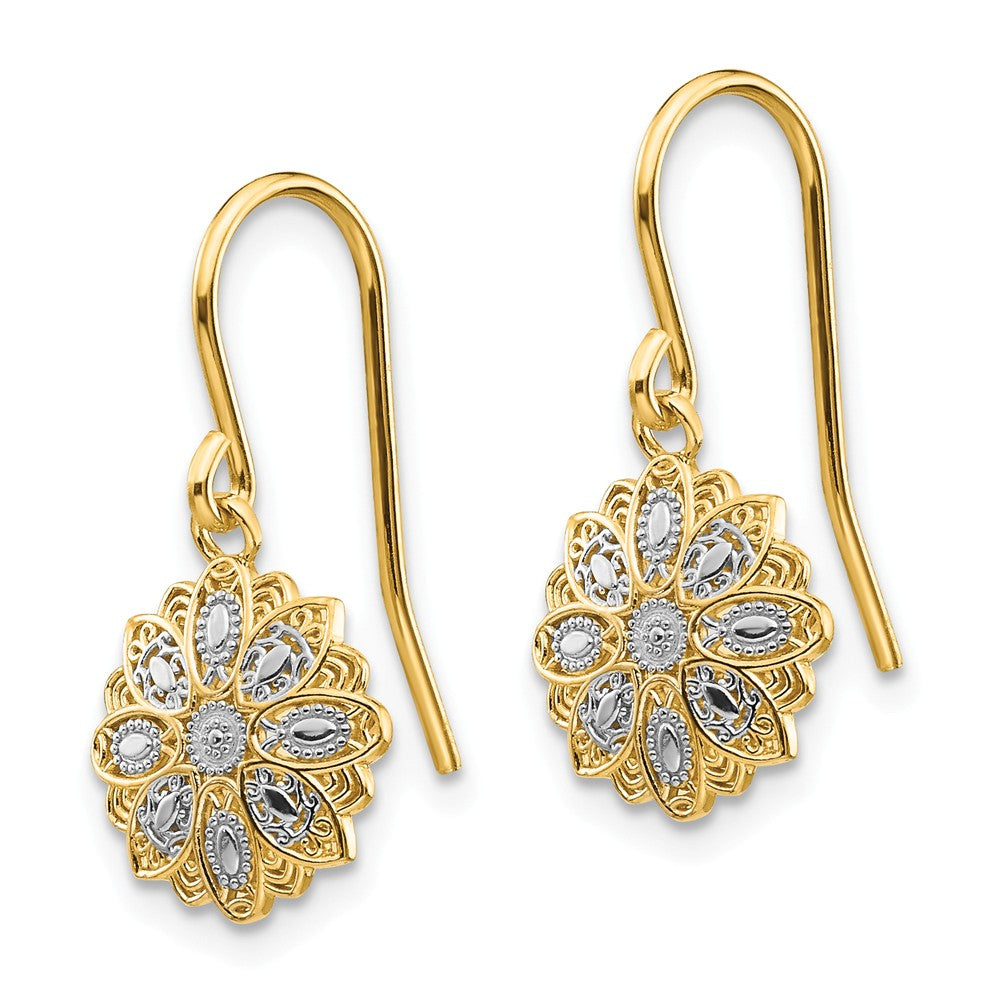 Alternate view of the 10mm Floral Dangle Earrings in 14k Yellow Gold and White Rhodium by The Black Bow Jewelry Co.