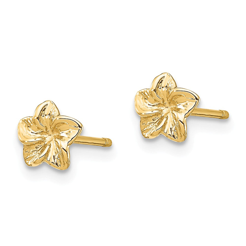 Alternate view of the 6mm Plumeria Flower Post Earrings in 14k Yellow Gold by The Black Bow Jewelry Co.