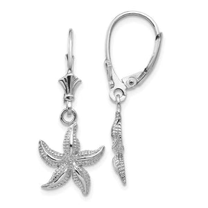 12mm Textured Starfish Lever Back Earrings in 14k White Gold - The Black Bow Jewelry Co.
