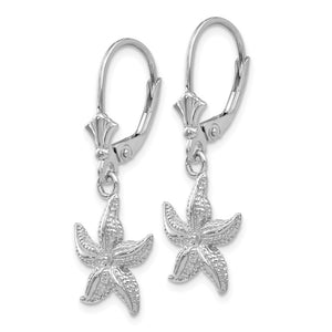 Alternate view of the 12mm Textured Starfish Lever Back Earrings in 14k White Gold by The Black Bow Jewelry Co.