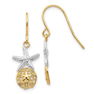 Two Tone Sand Dollar & Starfish Dangle Earrings in 14k Gold - The Black Bow Jewelry Co.