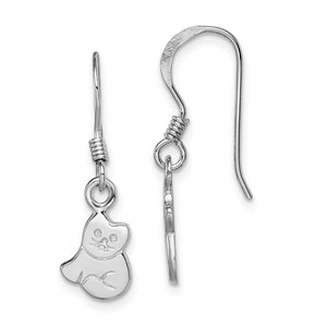 Kids Polished Cat Dangle Earrings in Sterling Silver - The Black Bow Jewelry Co.