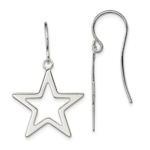 20mm Polished Open Star Dangle Earrings in Sterling Silver - The Black Bow Jewelry Co.