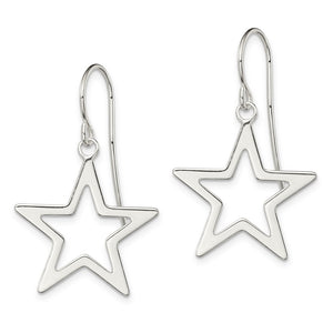 Alternate view of the 20mm Polished Open Star Dangle Earrings in Sterling Silver by The Black Bow Jewelry Co.