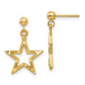 13mm Diamond Cut Open Star Dangle Post Earrings in 14k Yellow Gold - The Black Bow Jewelry Co.