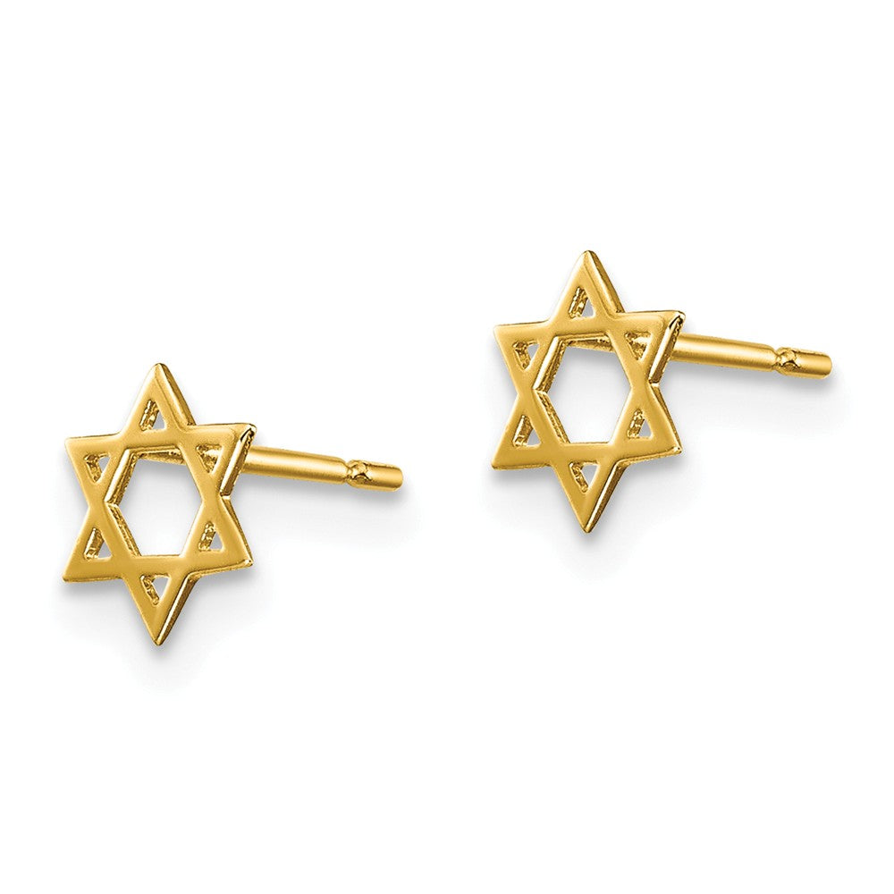 Alternate view of the Kids 5mm Child's Star of David Post Earrings in 14k Yellow Gold by The Black Bow Jewelry Co.