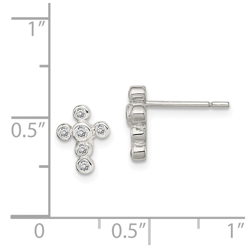 Alternate view of the Kids 9mm Cubic Zirconia Cross Earrings in Sterling Silver by The Black Bow Jewelry Co.
