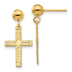 13mm Textured Cross Dangle Post Earrings in 14k Yellow Gold - The Black Bow Jewelry Co.