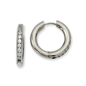 3mm Titanium Cubic Zirconia Hinged Round Hoop Earrings, 20mm (3/4 in) - The Black Bow Jewelry Co.