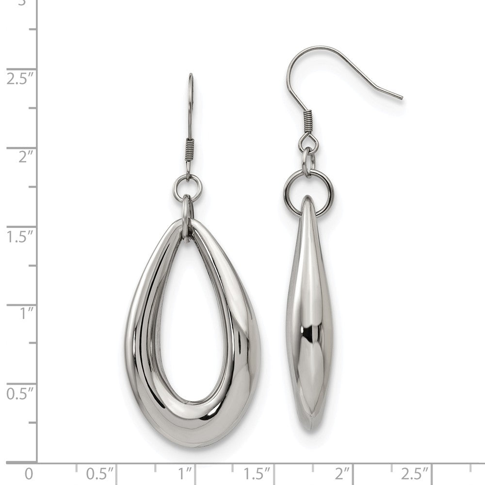 Alternate view of the 35mm Puffed Teardrop Dangle Earrings in Stainless Steel by The Black Bow Jewelry Co.