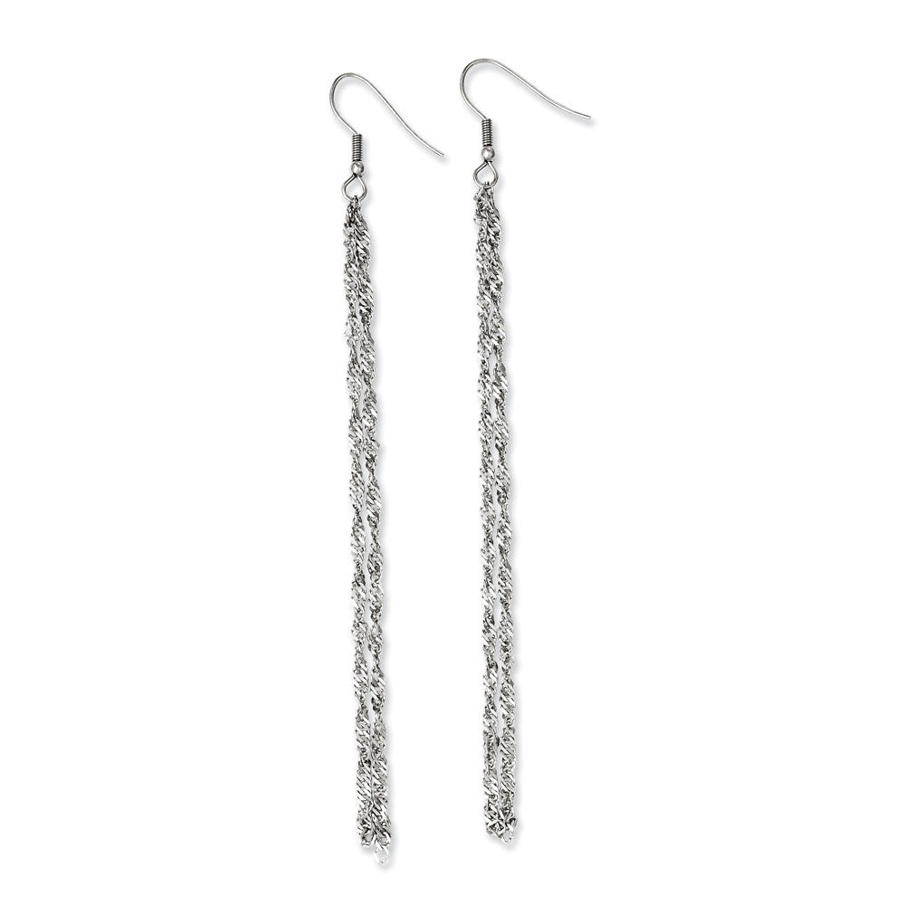 Long Polished Double Ropa Chain Dangle Earrings in Stainless Steel, Item E11147 by The Black Bow Jewelry Co.