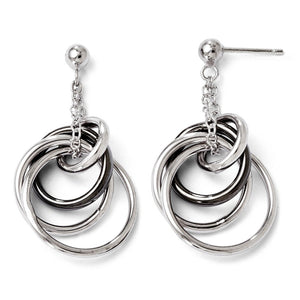 Two-Tone Entwined Circle Dangle Post Earrings in Sterling Silver - The Black Bow Jewelry Co.