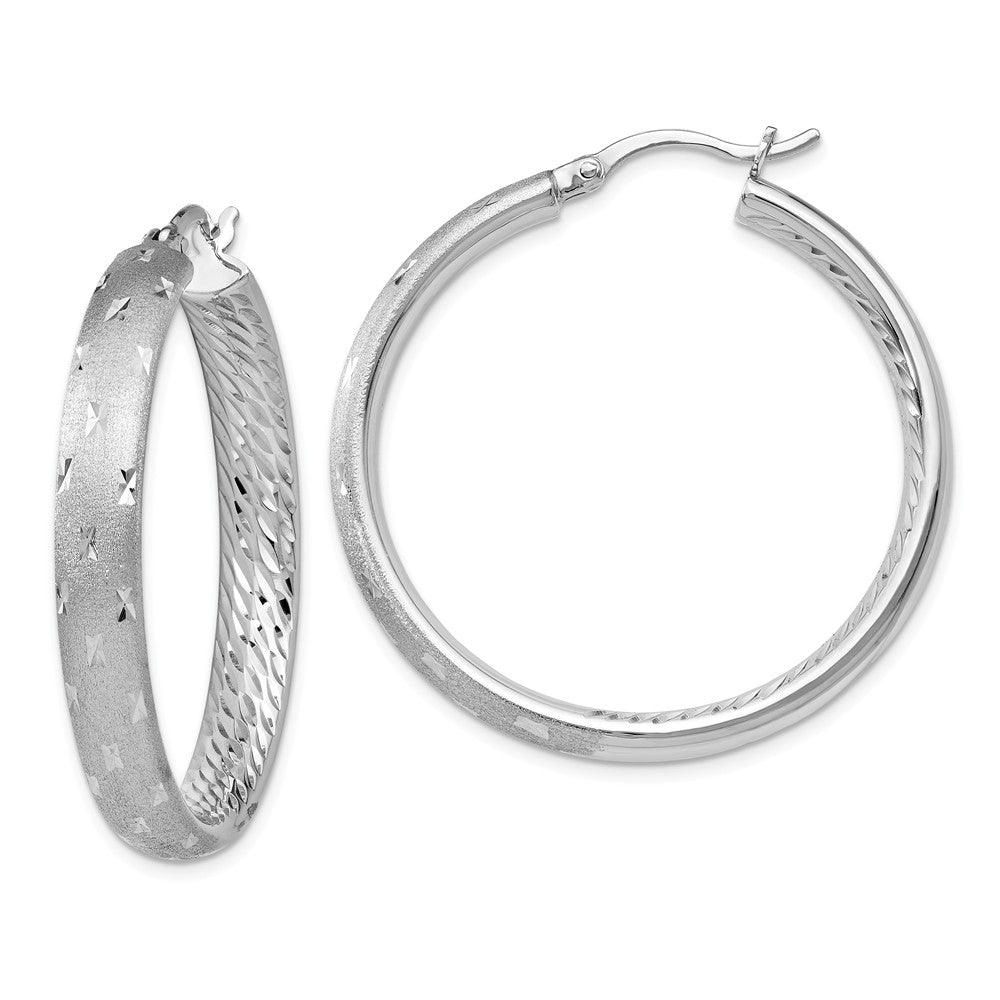 5mm Diamond-Cut Sterling Silver Round Hoop Earrings, 39mm (1 1/2 in), Item E11375 by The Black Bow Jewelry Co.