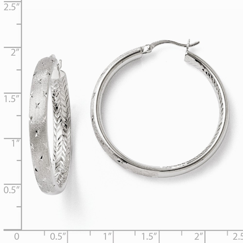 Alternate view of the 5mm Diamond-Cut Sterling Silver Round Hoop Earrings, 39mm (1 1/2 in) by The Black Bow Jewelry Co.