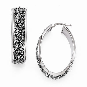 10 x 38mm Oval Hoop Earrings in Silver with Swarovski Crystals - The Black Bow Jewelry Co.