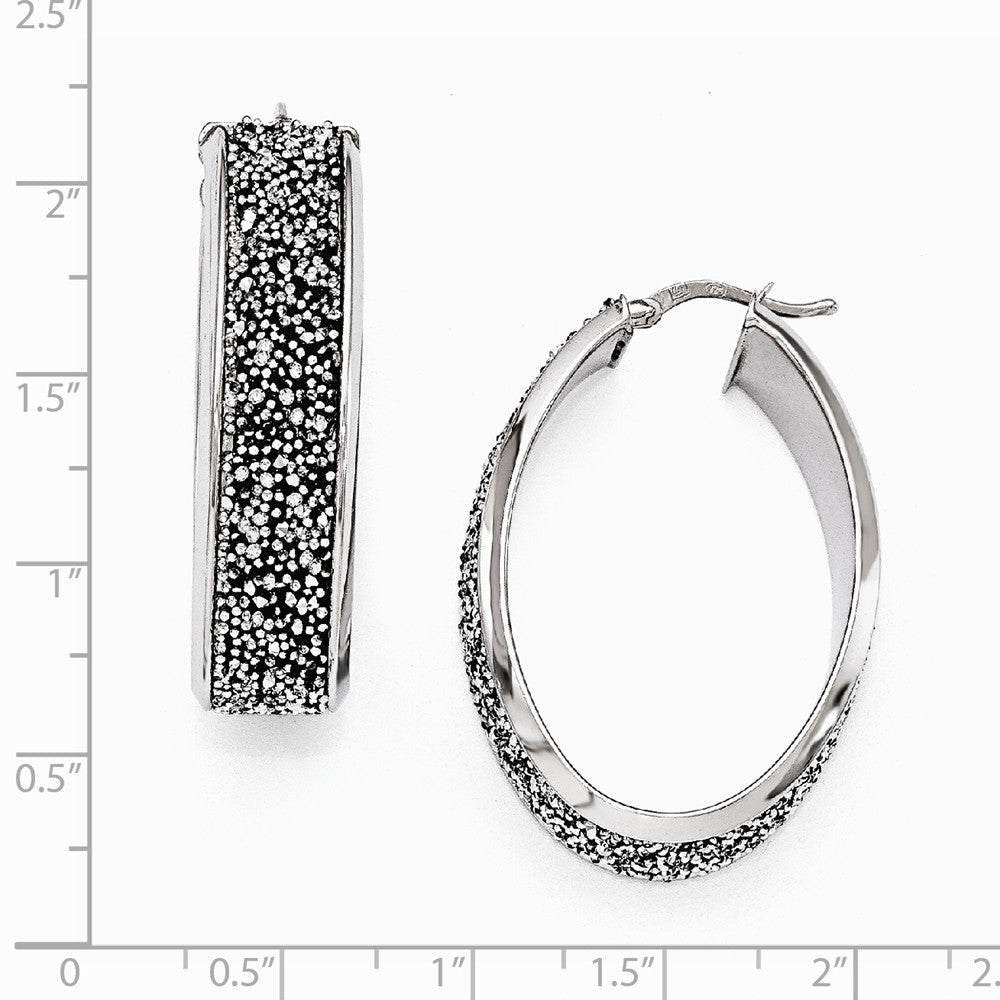 Alternate view of the 10 x 38mm Oval Hoop Earrings in Silver with Swarovski Crystals by The Black Bow Jewelry Co.