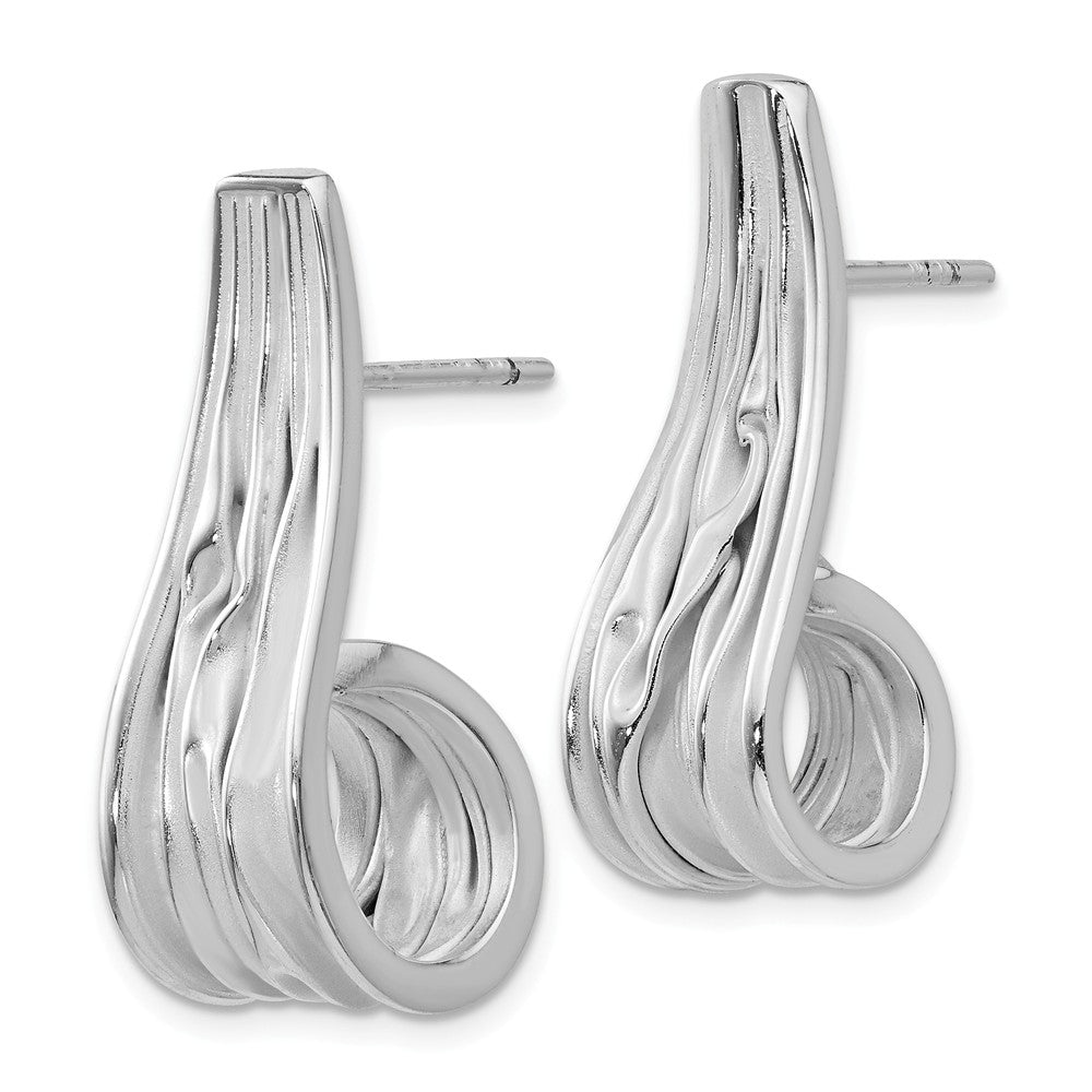 Alternate view of the Sterling Silver Tapered Crinkle J-Hoop Post Earrings, 9 x 27mm by The Black Bow Jewelry Co.