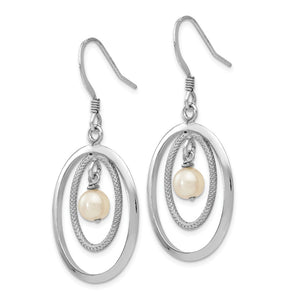 Alternate view of the 18 x 39mm Silver, FW Cultured White Pearl & Oval Dangle Earrings by The Black Bow Jewelry Co.