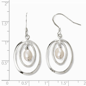18 x 39mm Silver, FW Cultured White Pearl & Oval Dangle Earrings