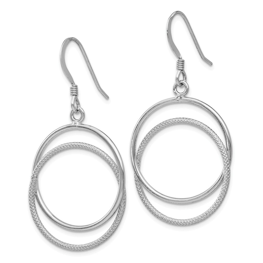 Alternate view of the 22mm Polished and Textured Circle Dangle Earrings in Sterling Silver by The Black Bow Jewelry Co.