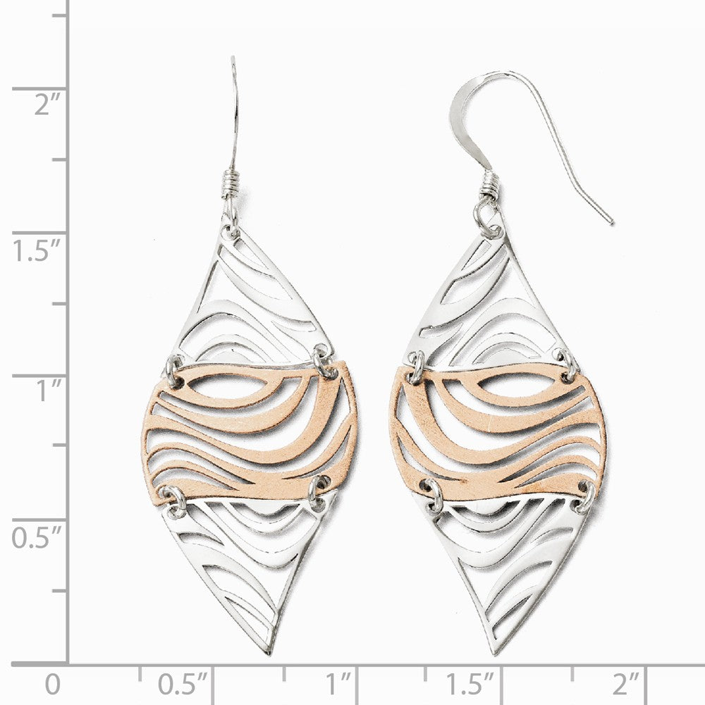 Alternate view of the Two-Tone Cutout Marquise Dangle Earrings in Sterling Silver by The Black Bow Jewelry Co.