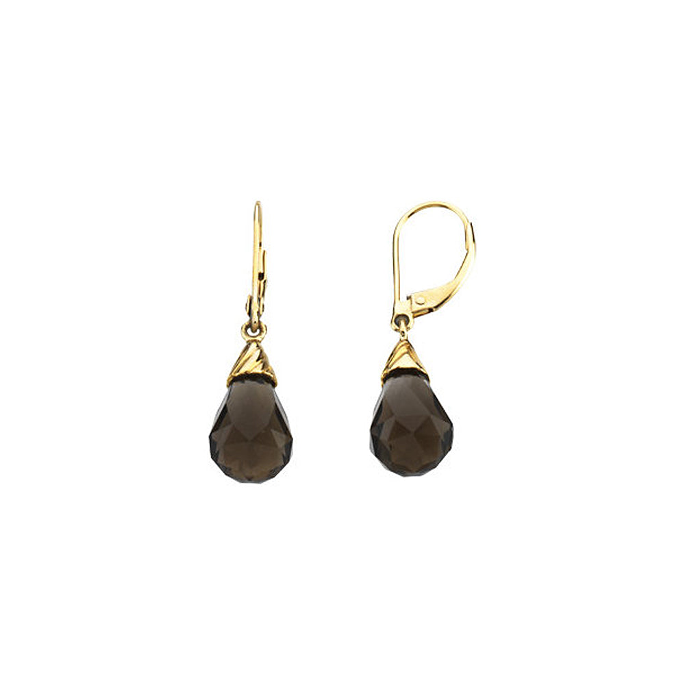 Briolette Smoky Quartz Lever Back Earrings in 14k Yellow Gold, Item E11743 by The Black Bow Jewelry Co.
