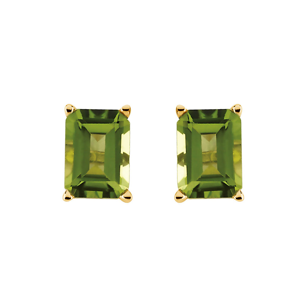 Alternate view of the Emerald Octagon Cut Peridot Stud Earrings in 14k Yellow Gold by The Black Bow Jewelry Co.