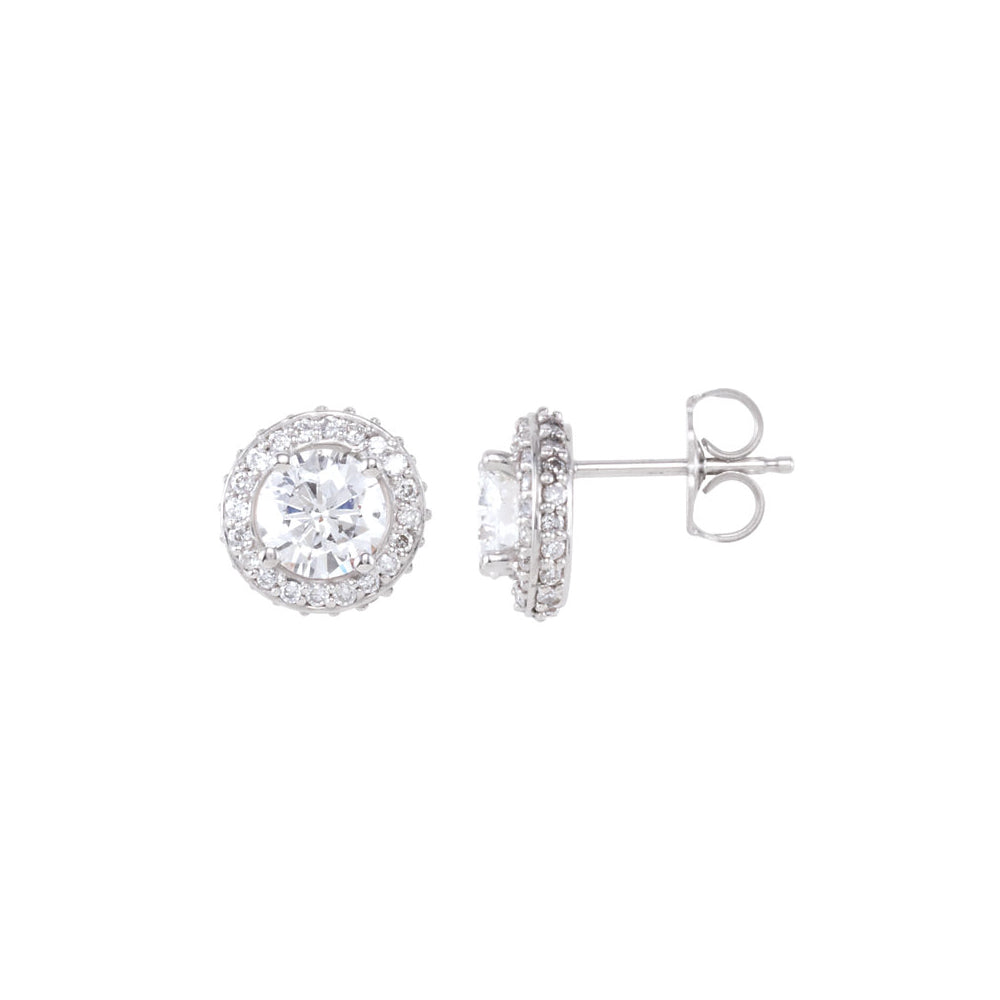 1 1/2 Cttw Diamond Entourage 8.5mm Post Earrings in 14k White Gold, Item E11810 by The Black Bow Jewelry Co.