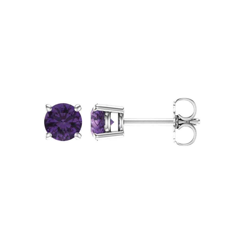 5mm Round Amethyst Stud Earrings in 14k White Gold, Item E11814 by The Black Bow Jewelry Co.