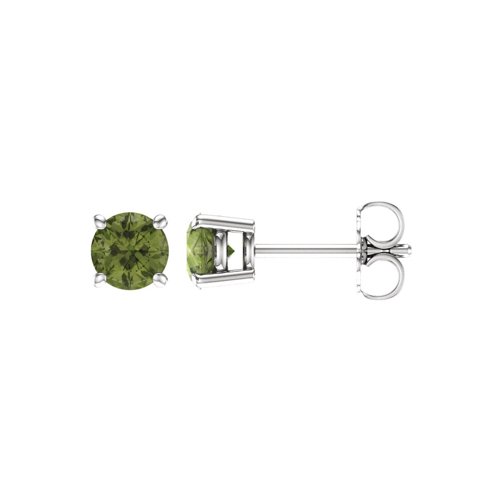 5mm Round Peridot Stud Earrings in 14k White Gold, Item E11829 by The Black Bow Jewelry Co.