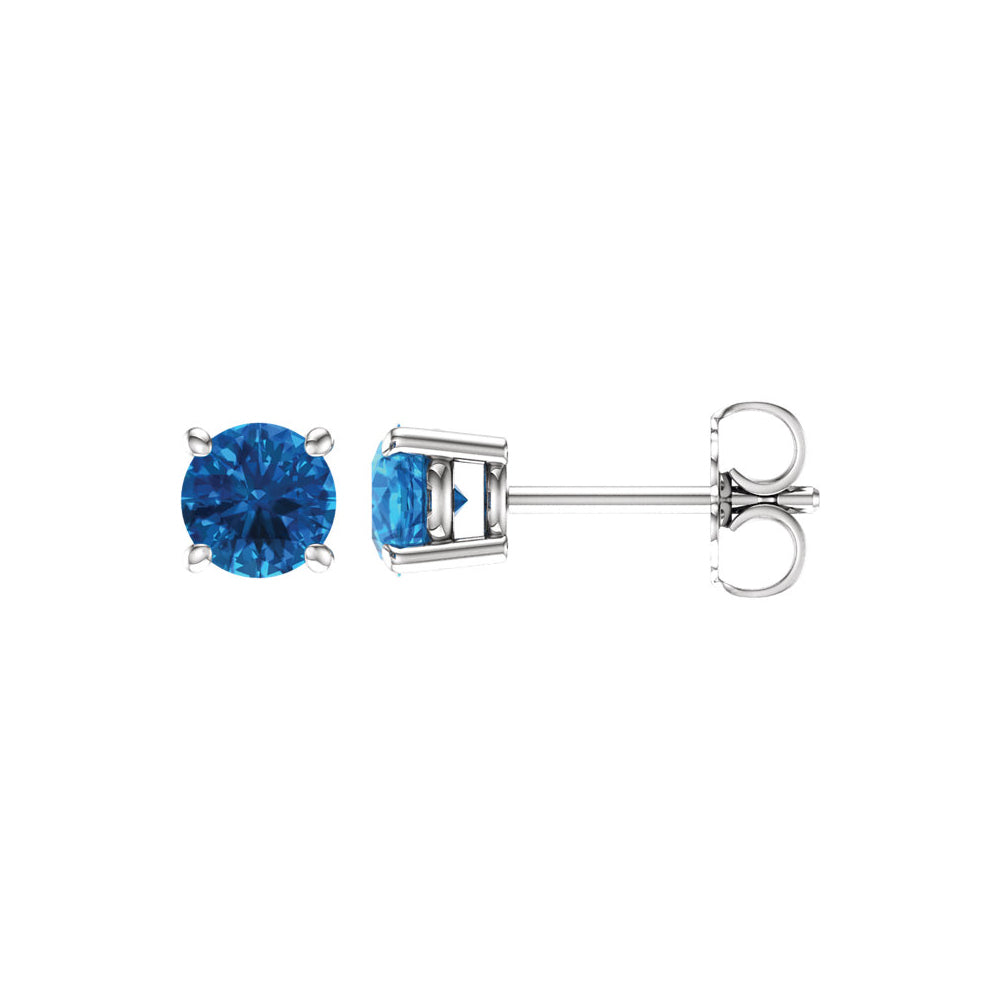 5mm Round Swiss Blue Topaz Stud Earrings in 14k White Gold, Item E11841 by The Black Bow Jewelry Co.