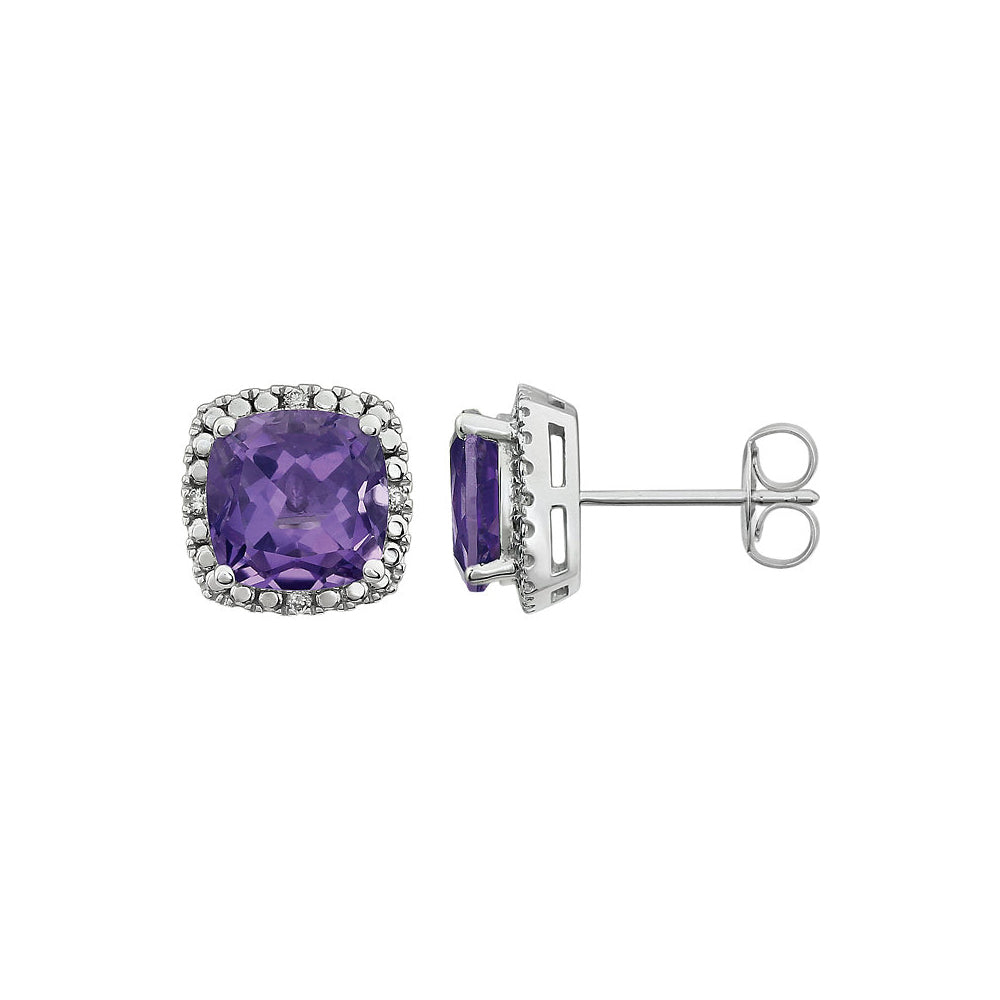 Amethyst & Diamond 10mm Earrings in 14k White Gold, Item E11914 by The Black Bow Jewelry Co.