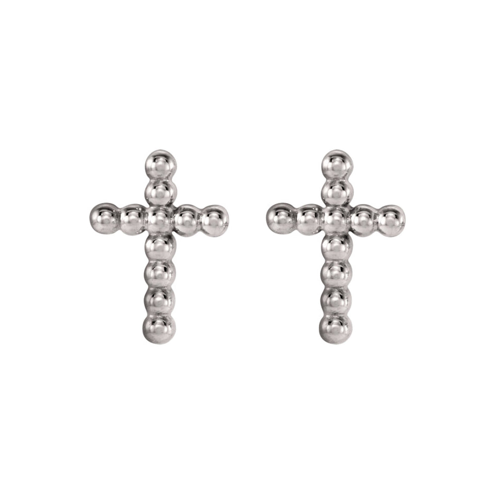 9mm Beaded Cross Post Earrings in 14k White Gold, Item E12005 by The Black Bow Jewelry Co.