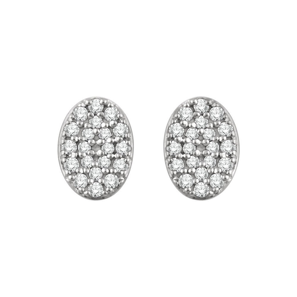 Alternate view of the 7mm Oval Diamond Cluster Post Earrings in 14k White Gold by The Black Bow Jewelry Co.