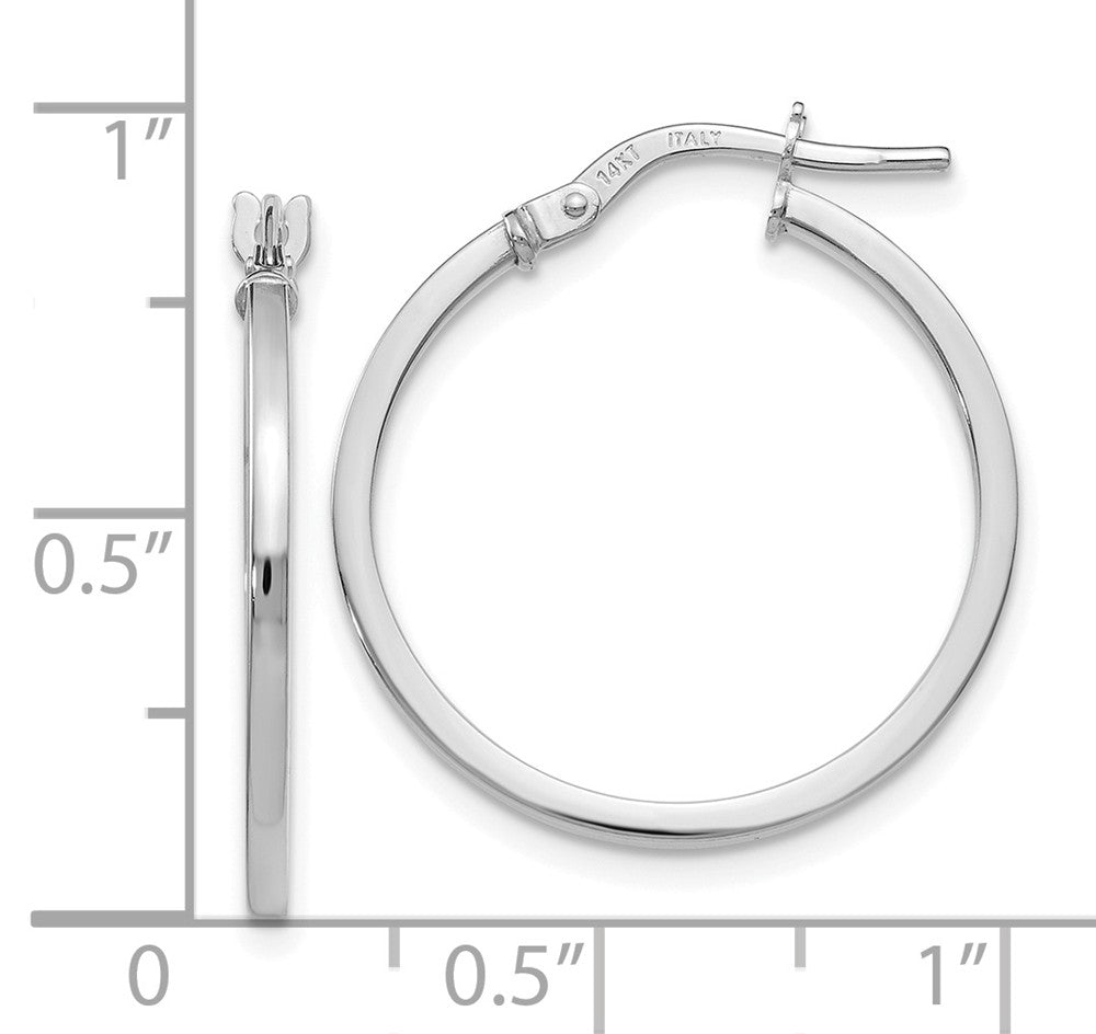 Alternate view of the 14k White Gold Square Tube Round Hoop Earrings, 1.5 x 22mm (7/8 Inch) by The Black Bow Jewelry Co.