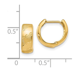 Alternate view of the 5mm Polished & Satin Hinged Hoops in 14k Yellow Gold, 13mm (1/2 Inch) by The Black Bow Jewelry Co.
