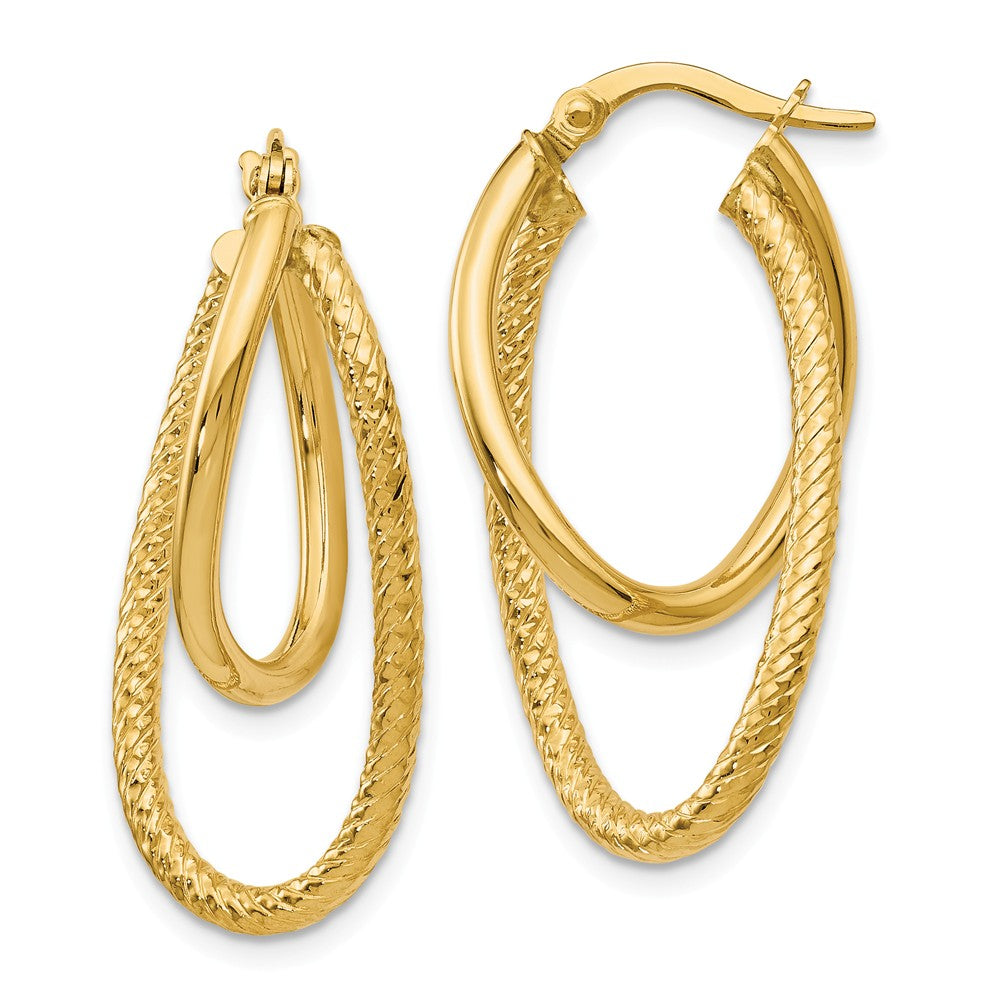 Polished and Textured 14k Yellow Gold Bent Double Hoop Earrings, 32mm, Item E12191 by The Black Bow Jewelry Co.