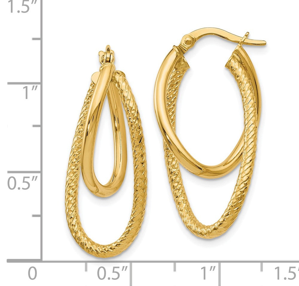 Alternate view of the Polished and Textured 14k Yellow Gold Bent Double Hoop Earrings, 32mm by The Black Bow Jewelry Co.
