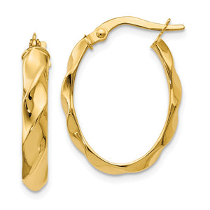 4mm Twisted Oval Hoop Earrings in 14k Yellow Gold, 22mm (7/8 Inch) - The Black Bow Jewelry Co.