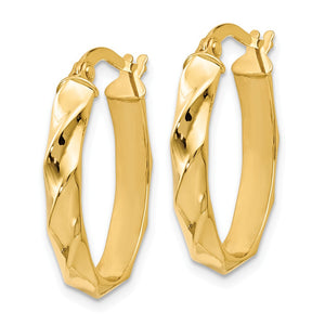 Alternate view of the 4mm Twisted Oval Hoop Earrings in 14k Yellow Gold, 22mm (7/8 Inch) by The Black Bow Jewelry Co.