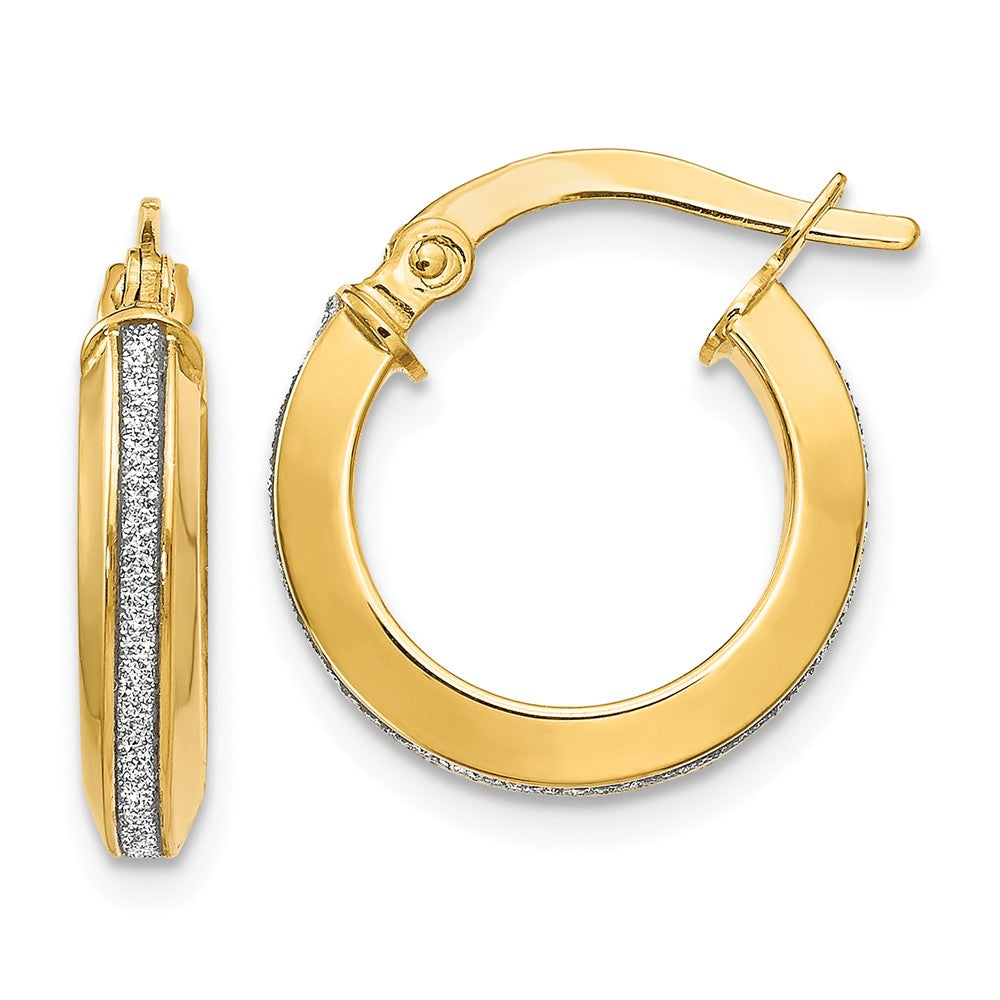 3mm Glitter Infused Round Hoop Earrings in 14k Yellow Gold, 14mm, Item E12293 by The Black Bow Jewelry Co.